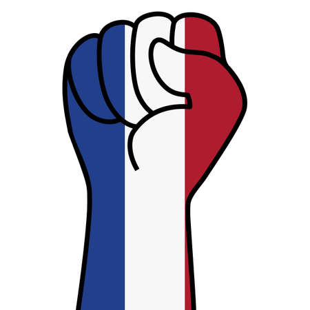 Raised dutch fist flag. Hand of netherlands. Fist shape netherlands flag color. Patriotic demonstration, protest, fighting for human rights, freedom. Vector flat icon, symbol for web banner, posts
