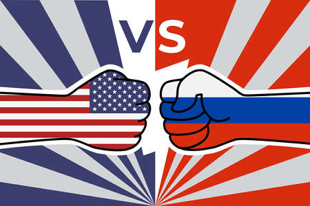 Cold war of the USA and russia. US flag fist vs russian flag fist. American Russian military confrontation. Vector flat icon for web banner, posts