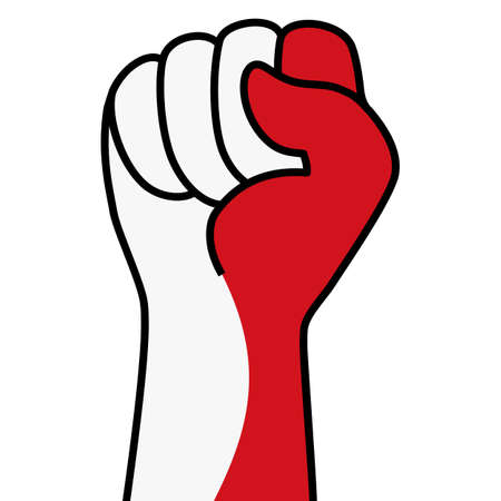 Raised indonesian fist flag. Hand of indonesia. Fist shape indonesia flag color. Patriotic demonstration, rebel, protest, fighting for human rights, freedom. Vector flat icon, symbol for web banner, posts Stock Illustratie
