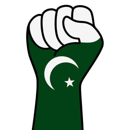 Raised fist pakistan flag. Pakistani hand. Fist shape pakistan flag color. Stock Illustratie
