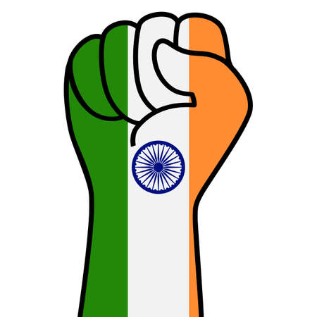 Raised indian fist flag. Indian hand. Fist shape india flag color. Patriotic demonstration, rebel, protest, fighting for human rights, freedom.