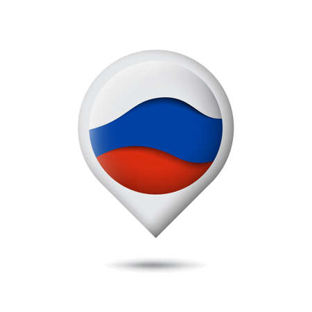 Russia flag icon in the shape of pointer, map marker. Waving in the wind. Abstract waving flag of russia. Paper cut style. Russian tricolor. Vector symbol, icon, button Illustration