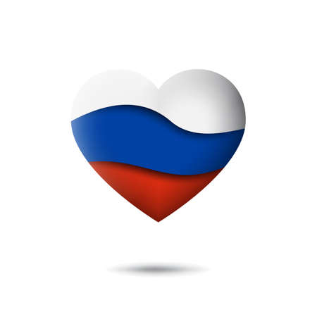 Russia flag icon in the shape of heart. Waving in the wind. Abstract waving flag of russia. Russian tricolor. Paper cut style. Vector symbol, icon, button Illustration