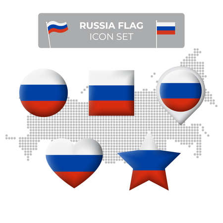 Russia flag icons set in the shape of square, heart, circle, stars and pointer, map marker. Mosaic map of russia. Russian flag. Vector symbol, icon, button Stock Illustratie
