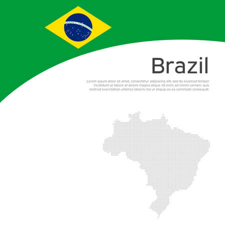 Abstract brazil flag, mosaic map. Creative background in brazil flag colors for holiday card design. National poster. State Brazilian patriotic cover, business booklet, flyer. Vector flat design