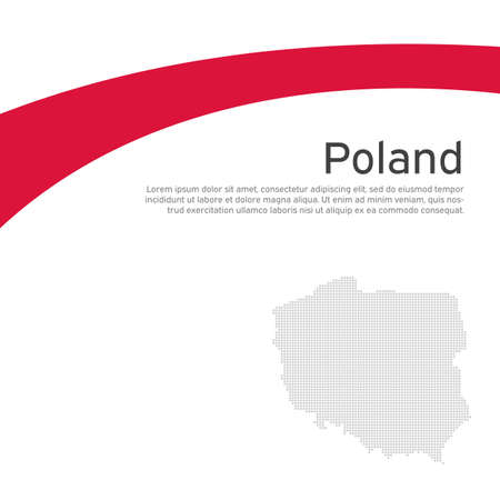 Cover, banner in national colors of poland. Abstract waving poland flag, mosaic map. Simple flat style. Patriotic cover, business booklet, flyer. National polish poster. Vector flat design, template
