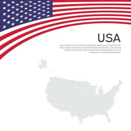 Abstract waving usa flag. Creative background for american patriotic holiday design. National usa poster. Business booklet, cover, banner in US colors. Vector flat design, template