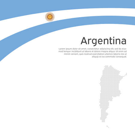 Abstract waving flag, mosaic map of argentina. Creative background for argentina patriotic holiday card design. Flat style. National Poster. Argentinean state patriotic cover, flyer. Vector design
