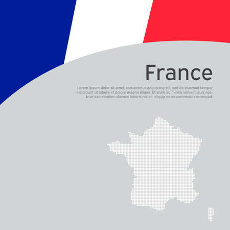 Abstract waving france flag and mosaic map. Creative background for patriotic, festive france card design. National Poster. State French patriotic cover, booklet, flyer. Vector flat tricolor design