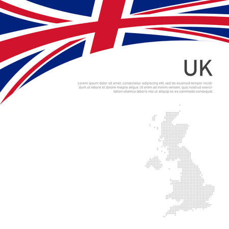 Great Britain flag, mosaic map on a white background. National poster of the united kingdom. Great britain state patriotic cover, banner. UK flag pattern. Vector flat illustration, template
