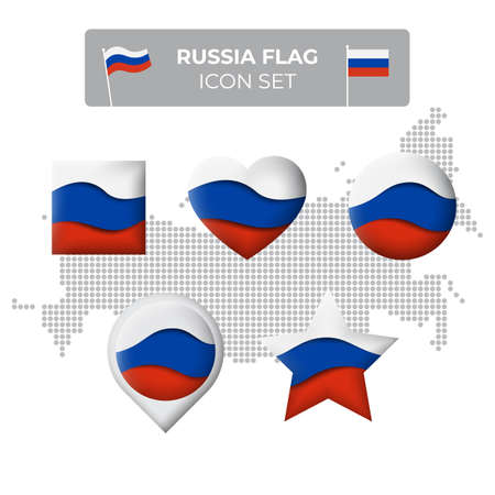 Russia flag icons set in the shape of square, heart, circle, stars and pointer, map marker. Mosaic map of russia. Waving in the wind. Russian flag. Paper cut. Vector symbol, icon, button
