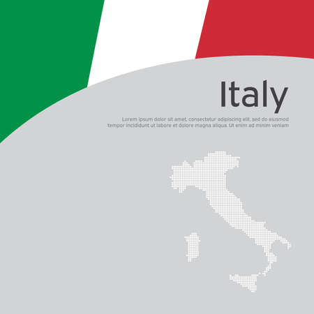 Abstract waving italy flag mosaic map. Creative background in italy flag colors for holiday card design. National poster. State Italian patriotic cover, business booklet, flyer. Vector flat design