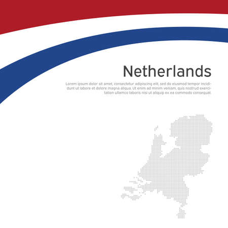 Abstract waving flag of netherlands. Creative background for patriotic holiday card design. National Poster. Cover, banner in state colors of the Netherlands. Vector tricolor flat design, template
