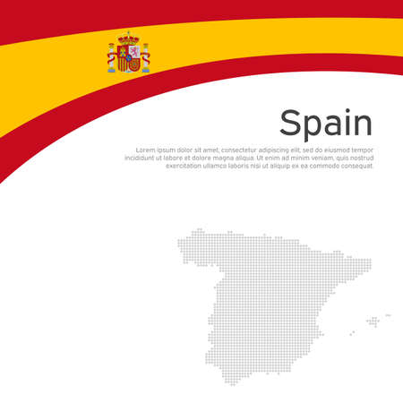 Abstract waving spain flag. Creative background for spain patriotic holiday card design. National poster. Spanish state patriotic cover, flyer. Vector flat design, template