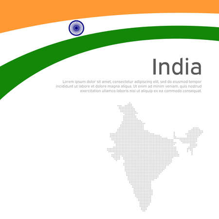 Abstract waving flag of india. Creative background for india patriotic holiday card design. National Poster. State indian patriotic cover, flyer. Vector tricolor flat design, template