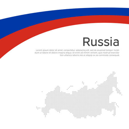 Abstract waving flag, mosaic map russia. Flat style. Creative background for design of patriotic holiday card of russia. National poster. State russian patriotic cover, flyer. Vector tricolor design Illustration