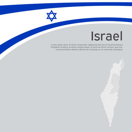 Israel flag, mosaic map background. Israel wavy flag on a white background. National poster. State israeli patriotic flyer, banner. Business booklet. flat style. Vector design, template