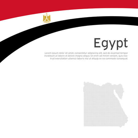 Abstract waving egypt flag and mosaic map. Creative background for egypt patriotic holiday card design. Flat style. National poster. State patriotic egyptian cover, flyer. Vector design, template Illustration