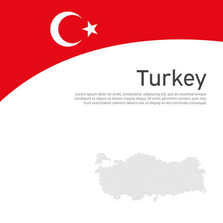 Abstract turkey flag, mosaic map. Creative background for design of patriotic turkish holiday cards. National poster. Cover, banner in national colors of turkey. Vector flat illustration, template Illustration
