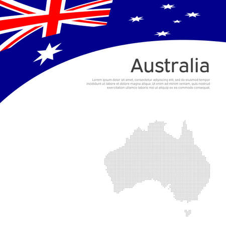 Australia flag, mosaic map on a white background. National poster design. Business booklet. State australian patriotic banner, flyer. Background with australia flag. Flat style. Vector illustration