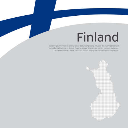Finland flag, mosaic map background. Finland flag on a white background. National poster design. State finnish patriotic banner, flyer. Business booklet. Flat vector illustration, template