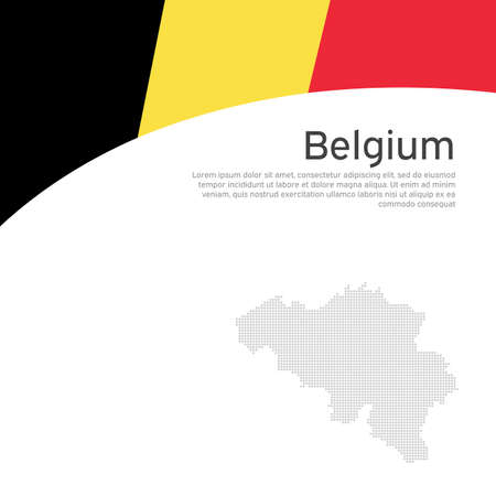 Abstract waving belgium flag mosaic map. Creative background for belgium holidays design. Business booklet. Flat style. Graphic background for poster. Vector illustration of the belgian flag. banner
