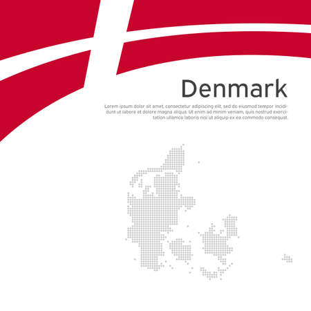 Flag, mosaic map of denmark on a wavy white background. National poster design. State danish patriotic banner, flyer. Flat style. Business booklet. Vector illustration, template Stock Illustratie