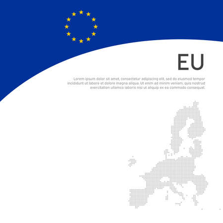 Cover, banner in colors of european union. Background - wavy flag, mosaic map of european union. Cover design, business booklet, flyer, poster. Vector flat design, template Illustration