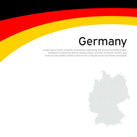 Abstract waving germany flag and mosaic map. Creative background for germany patriotic holiday card design. National poster. State german patriotic cover, flyer. Vector flat tricolor design