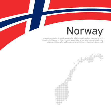 Norway flag, mosaic map on a white wavy background. National poster design of norway. Business booklet. State norwegian patriotic banner, flyer. Vector flat illustration, template Illustration