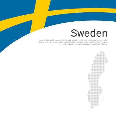 Background with flag, mosaic map of sweden. Sweden flag on a white background. National poster design. Business booklet. State swedish patriotic banner, flyer. Vector flat illustration, template
