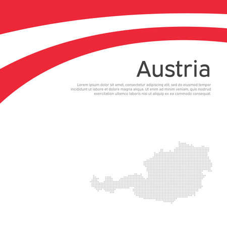 Abstract waving flag mosaic map of austria. Creative background for design of patriotic holiday card austria. National Poster. Paper cut style. Austrian business booklet, flyer. Vector flat design Stock Illustratie