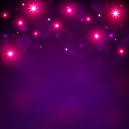 Magenta defocused background with bokeh and lights. Mockup, blurred background for holiday greeting cards, invitations. Bright lights. Copy space. Vector illustration Illustration