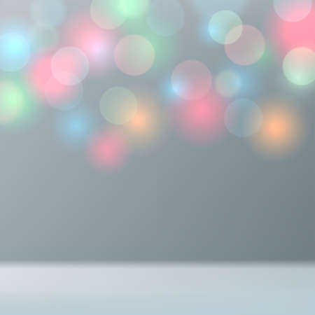 Light gray blue defocused background with multicolor bokeh. Mockup for product display blurred pastel background. Colored lights. Copy space. Vector illustration