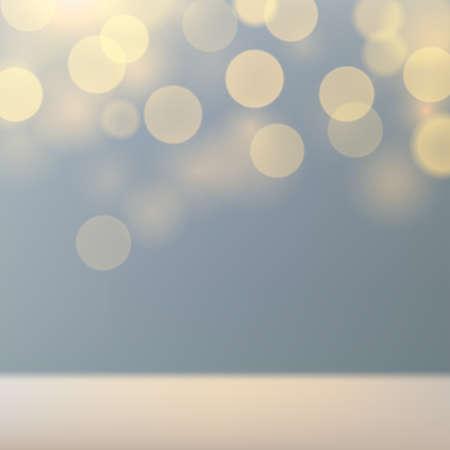 Light gray blue defocused background with golden bokeh. Mockup for product display blurred pastel background. Golden shine. Copy space. Vector illustration Illustration