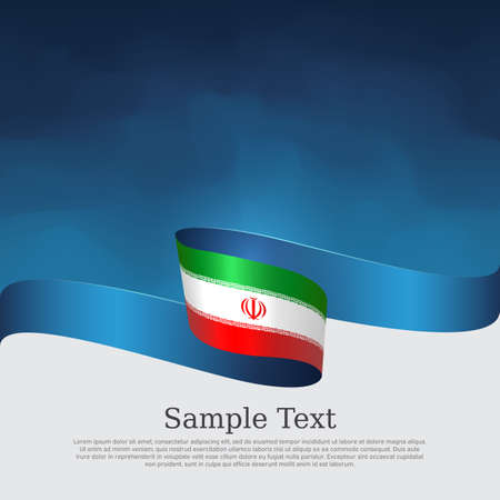 Iran flag background. State iranian patriotic banner, cover, business flyer. Wavy ribbon color flag of iran on a blue white background. National poster. Vector tricolor brochure design