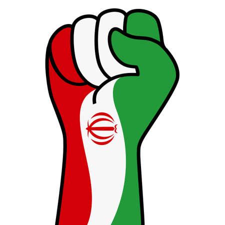 Raised fist iran flag. Iranian hand. Fist shape iran flag color. Patriotic demonstration, rebel, protest, fighting for human rights, freedom. Vector flat icon, symbol for web banner, posts Illusztráció
