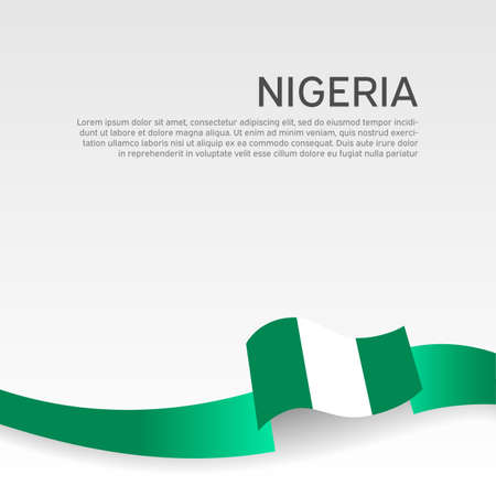 Nigeria flag on a white background. Vector banner design, nigeria national poster. Cover for business booklet. Wavy ribbon with the nigerian flag. State patriotic, flyer, brochure