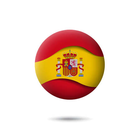 Spain flag icon in the shape of circle. Waving in the wind. Abstract waving spanish flag. Paper cut style. Vector symbol, icon, round button