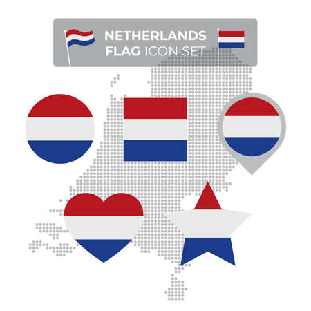 Netherlands denmark flag icons set in the shape of square, heart, circle, stars and pointer, map marker. Mosaic map of denmark. Dutch flag. Flat style. Vector symbol, icon, button