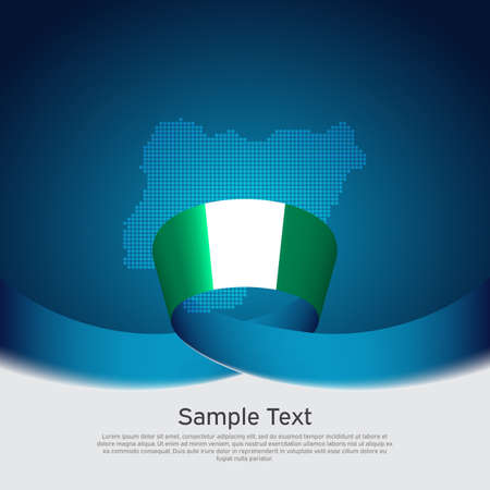 Nigeria flag, mosaic map on blue white background. Vector banner design. Nigeria national poster. Cover for business booklet. Wavy ribbon with the Nigerian flag. Illusztráció