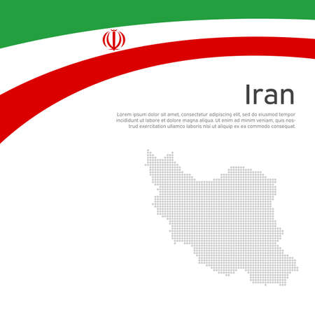 Abstract waving iran flag, mosaic map. Iranian state patriotic banner, flyer. Card design. Business booklet. Creative background for the patriotic holiday. Iran national poster. Vector flat design