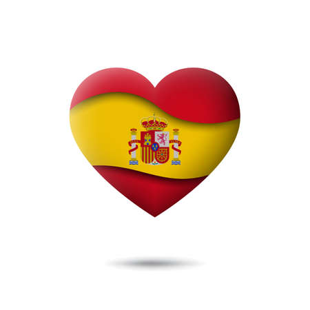Spain flag icon in the shape of heart. Waving in the wind. Abstract waving spanish flag. Paper cut style. Vector symbol, icon, button Illusztráció