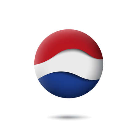 Netherlands, denmark flag icon in the shape of circle. Waving in the wind. Abstract waving dutch flag. Paper cut style. Vector symbol, icon, round button
