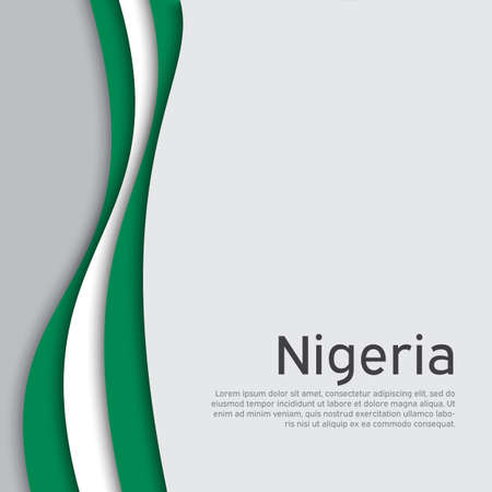 Abstract waving nigeria flag. Creative background in nigeria flag colors for holiday card design. National poster. State nigerian patriotic cover, business booklet, flyer. Paper cut. Vector design