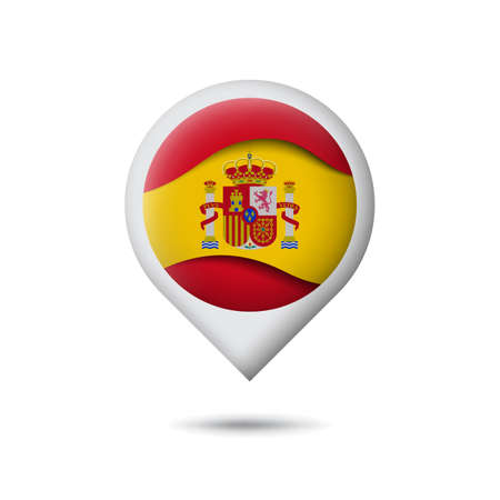 Spain flag icon in the shape of pointer, map marker. Waving in the wind. Abstract waving spanish flag. Paper cut style. Vector symbol, icon, button Illusztráció