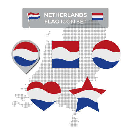 Netherlands denmark flag icons set in the shape of square, heart, circle, stars and pointer, map marker. Mosaic map of denmark. Waving dutch flag. Vector symbol, icon, button