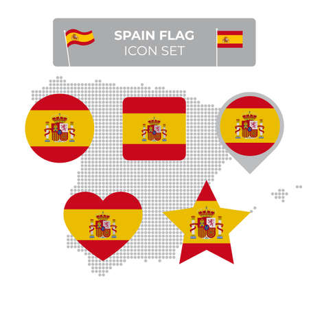 Spain flag icons set in the shape of square, heart, circle, stars and pointer, map marker, spain mosaic map. Spanish flag. Flat style. Vector symbol, icon, button