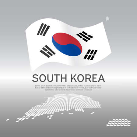 South korea flag and map on gray background. Vector brochure design. Cover for business booklet. Wavy ribbon with the south korean flag. National poster. State patriotic banner, flyer