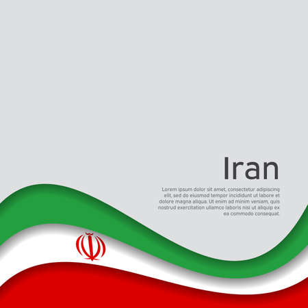 Abstract waving iran flag. Iranian state patriotic banner, flyer. Business booklet. Card design. Paper cut style. Creative background for the patriotic holiday. Iran national poster. Vector design Illusztráció